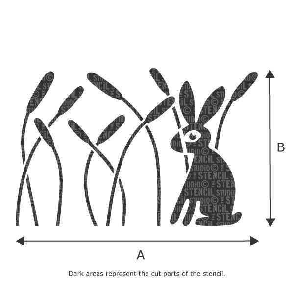 Rabbit in Reeds Border Wall Stencil - Stencil Size Chart