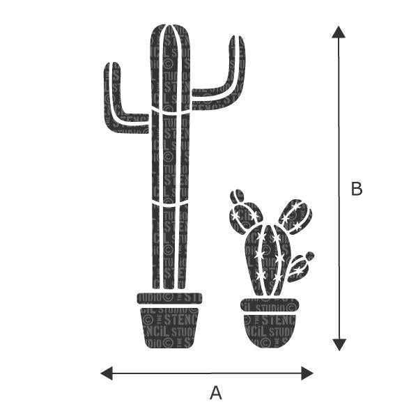 Cactus plants in pots from The Stencil Studio - Size is A x B - choose size from dropdown box