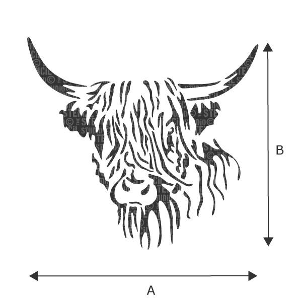 Hamish Highland Cow stencil from The Stencil Studio