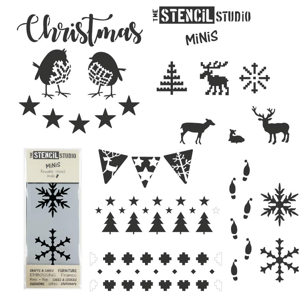 Set of Stencil MiNiS featuring all of our best selling Christmas motifs and borders