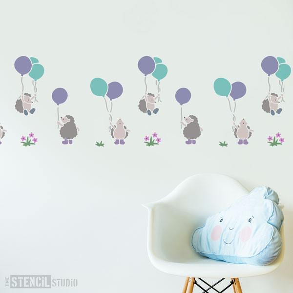 Hedgehogs and balloons stencil from The Stencil Studio Ltd - Size L