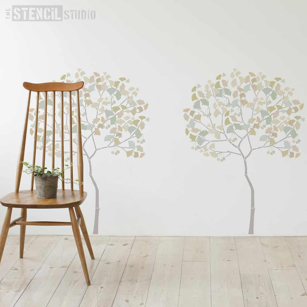 Round Tree with Ginko leaves stencil pack from The Stencil Studio - Size L