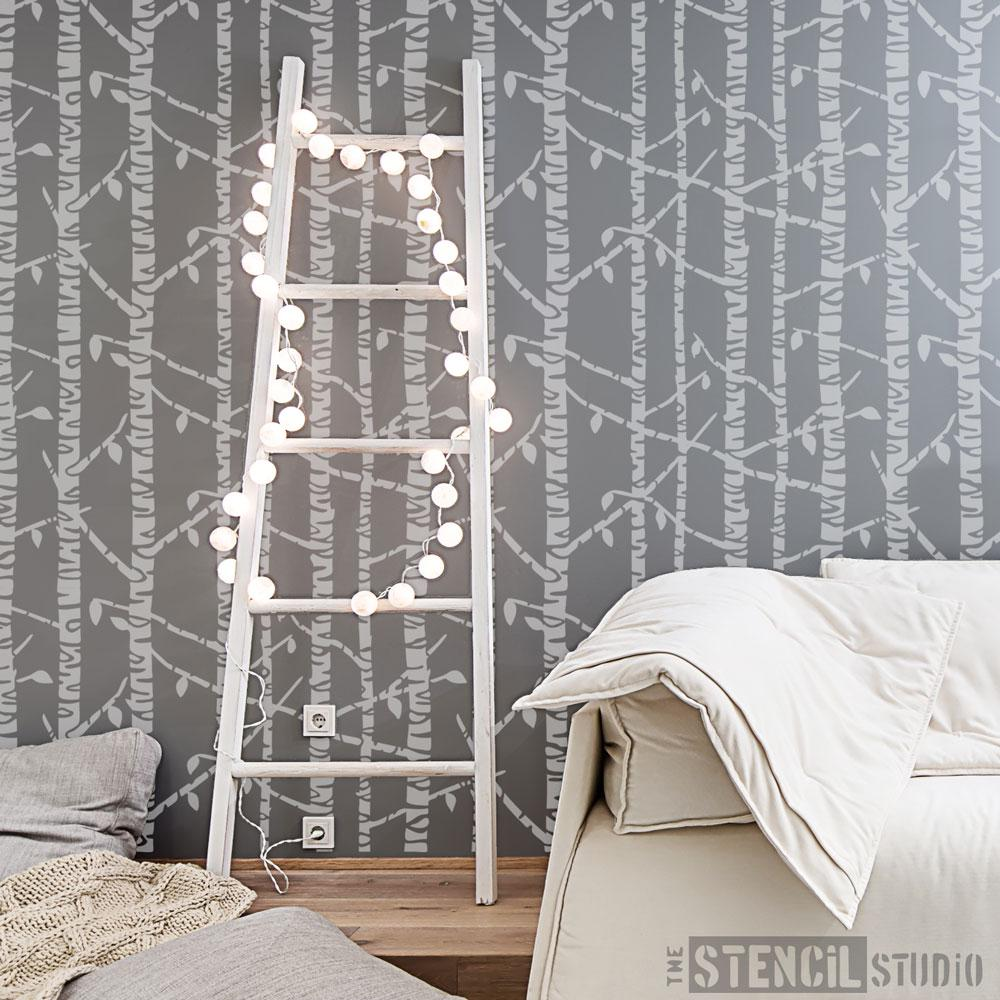 Birch Tree Wallpaper Stencil from The Stencil Studio - Size XL