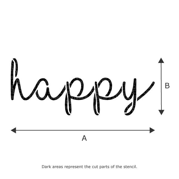 Happy Text Stencil - Stencil Size Chart
