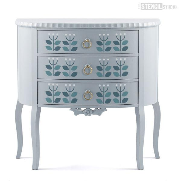 Sanna Flower Scandi stencil border repeat from The Stencil Studio Ltd - Size on furniture is S, choose size from drop down box