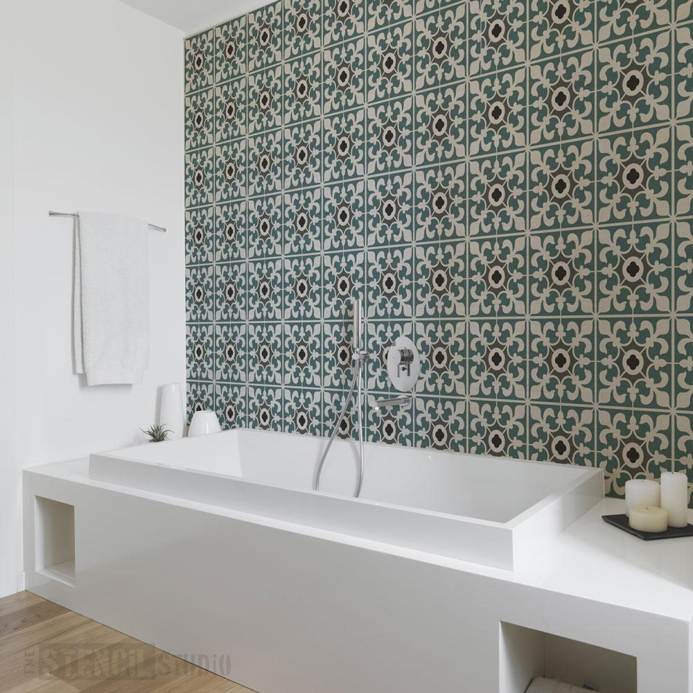 Kingscote Tile Repeat stencil - Size XL