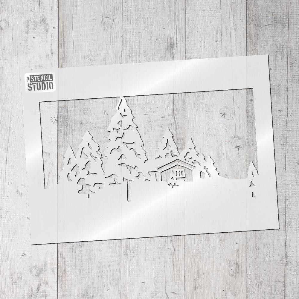 Snow Scene stencil from The Stencil Studio Christmas stencils range
