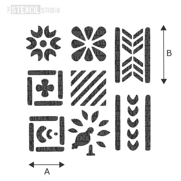 Mary Wondrausch Folk Art stencil set of 8 stencils from The Stencil Studio