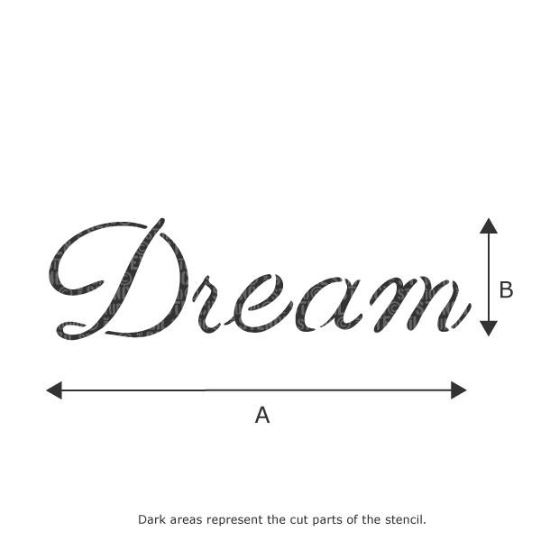 Dream text stencil from The Stencil Studio Ltd