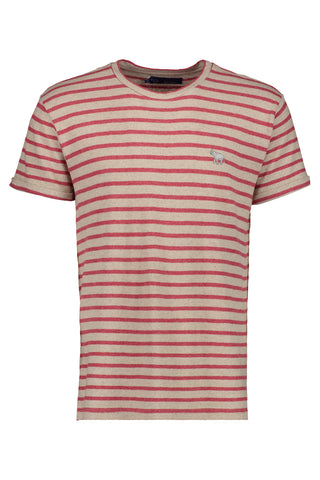 EAST CLUB CAMISETA RAYAS RED BEIGE