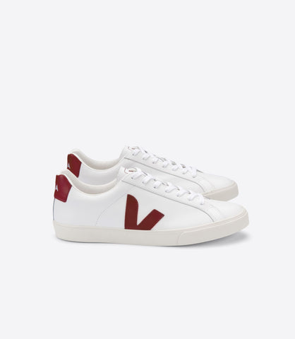 VEJA ESPLAR LOGO LEATHER EXTRA WHITE MARSALA WOMAN