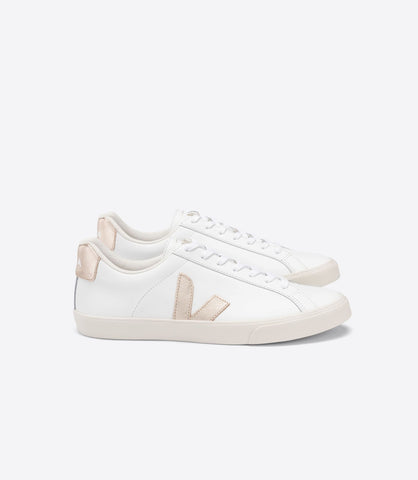 VEJA ESPLAR LOGO LEATHER WHITE PLATINE WOMAN