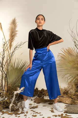CAROLINA RIVERA PANTALON SATIN BLUE