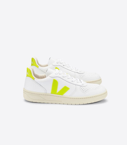 VEJA V10 LEATHER EXTRA WHITE JAUNE FLUO WOMAN