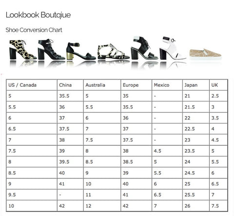 Shoe Size Chart And Guide Lookbook Boutique