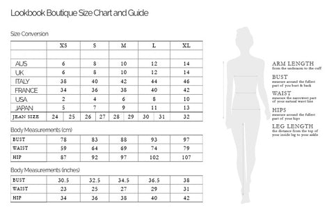 Lookbook Boutique S Clothing Chart Size And Guide For Customers