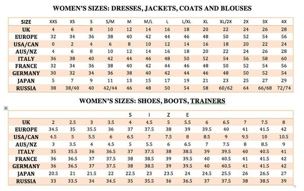 International Size Chart | Lookbook Boutique