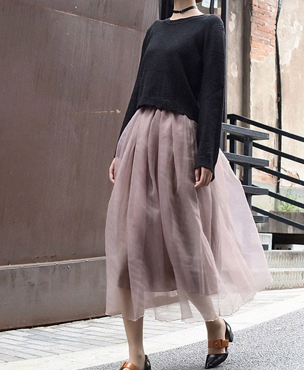Alice Organza Overlay Midi Skirt in Dusty Pink - Lookbook Boutique