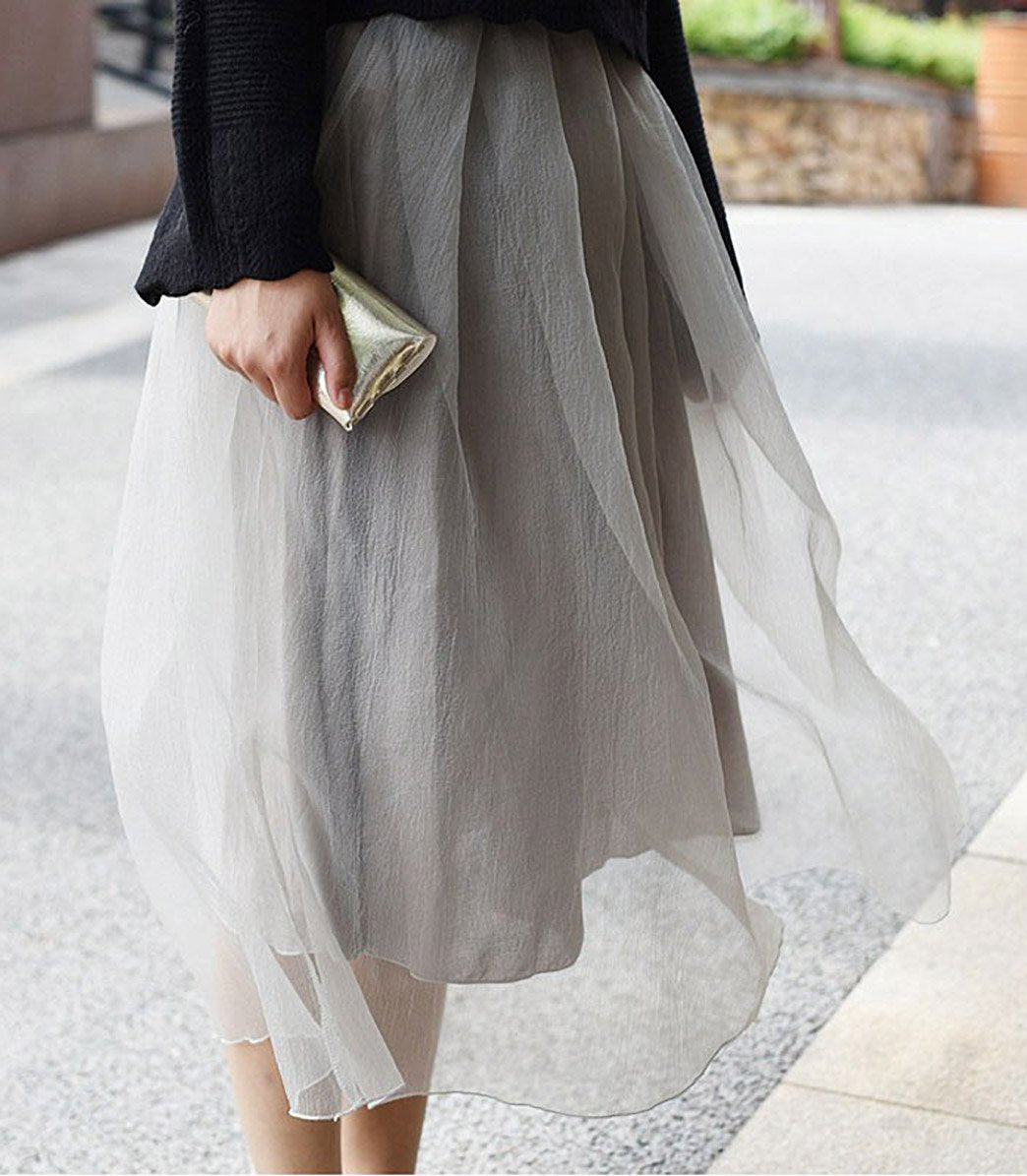 Alice Organza Overlay Midi Skirt in Grey - Lookbook Boutique