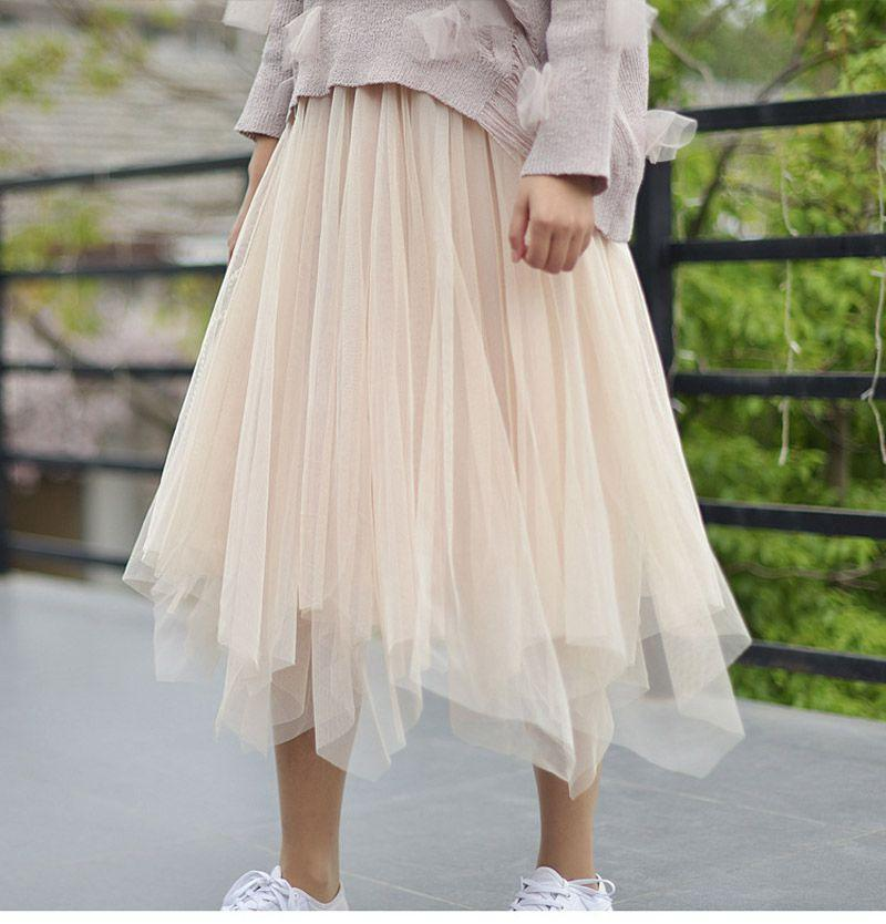 Alice Times Two Elastic Waist Multi Layer Tulle Midi Skirt in Nude - Lookbook Boutique