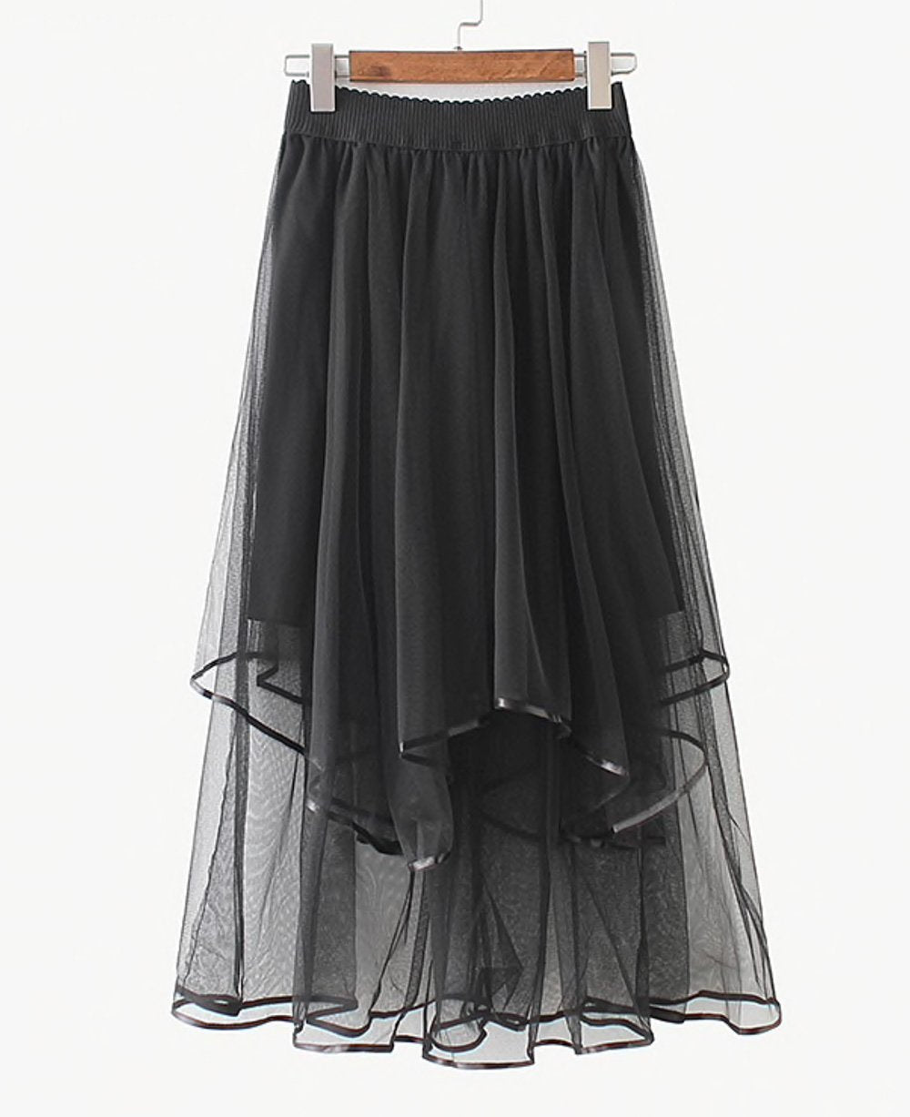 Alice Times Two Elastic Waist Tiered Tulle Midi Skirt in Black - Lookbook Boutique