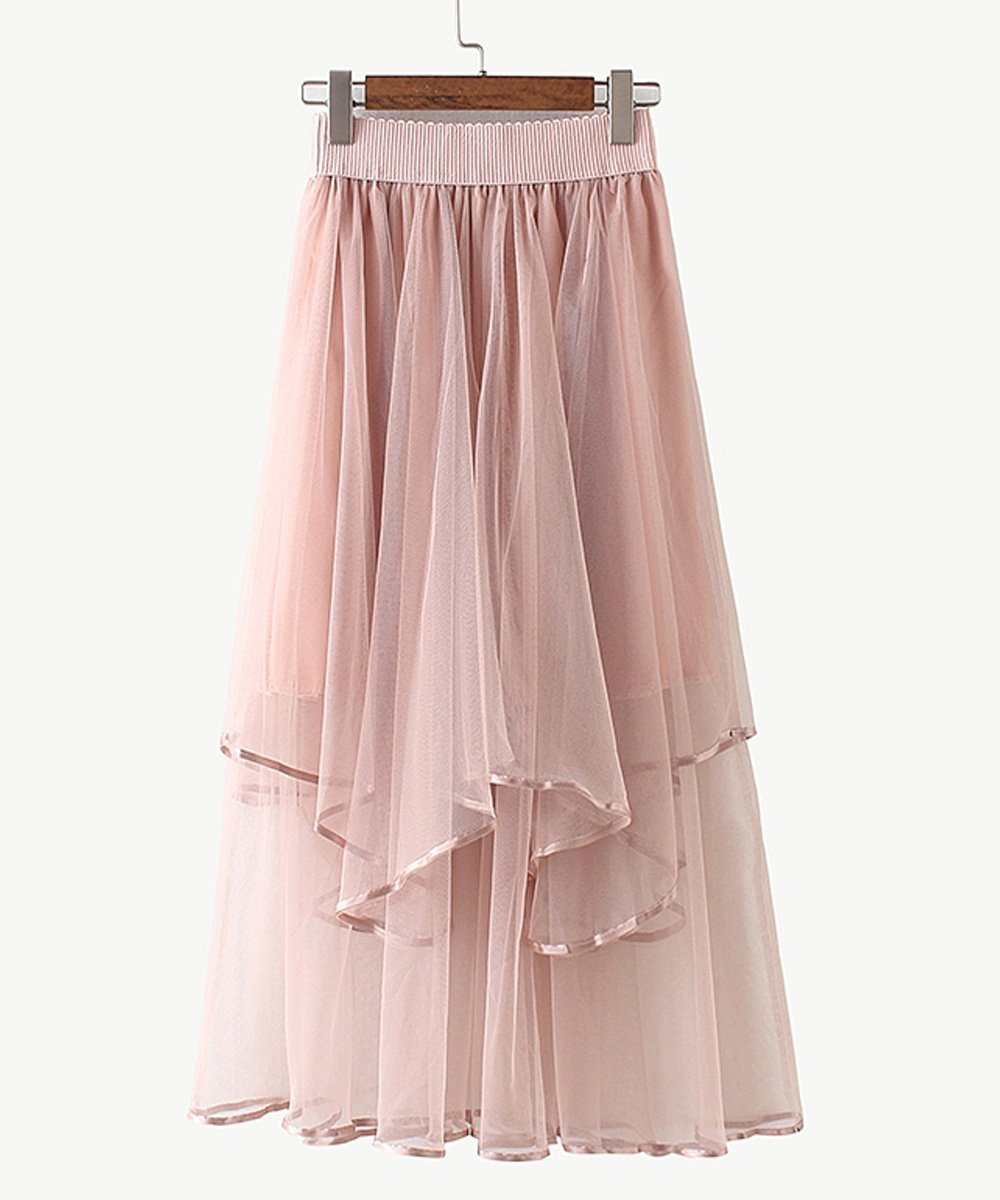 Alice Times Two Elastic Waist Tiered Tulle Midi Skirt in Pink-Lookbook Boutique