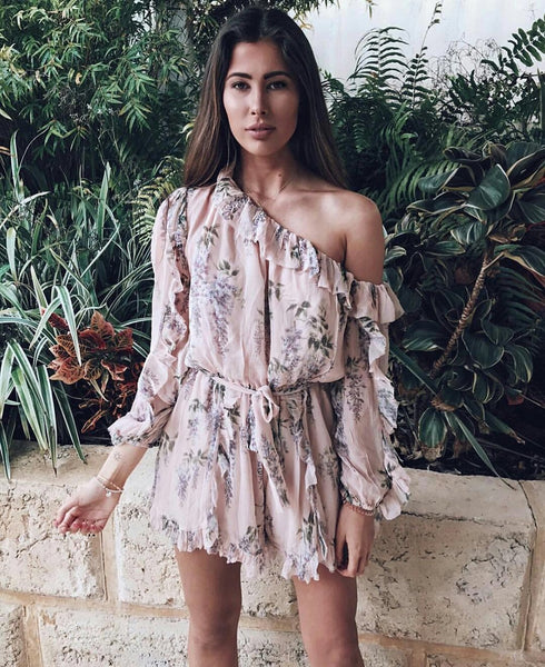 Alice Times Two One Shoulder Ruffle Sleeve Playsuit in Romantic Floral - Lookbook Boutique