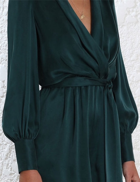 Amy's Life Long Sleeve Wrap Mini Dress in Emerald Satin-Lookbook Boutique