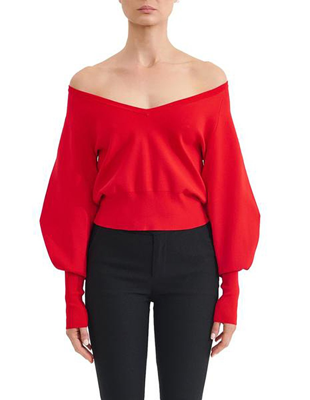 ASILIO Antone V Neck Balloon Sleeve Sweater Knit in Red-Lookbook Boutique