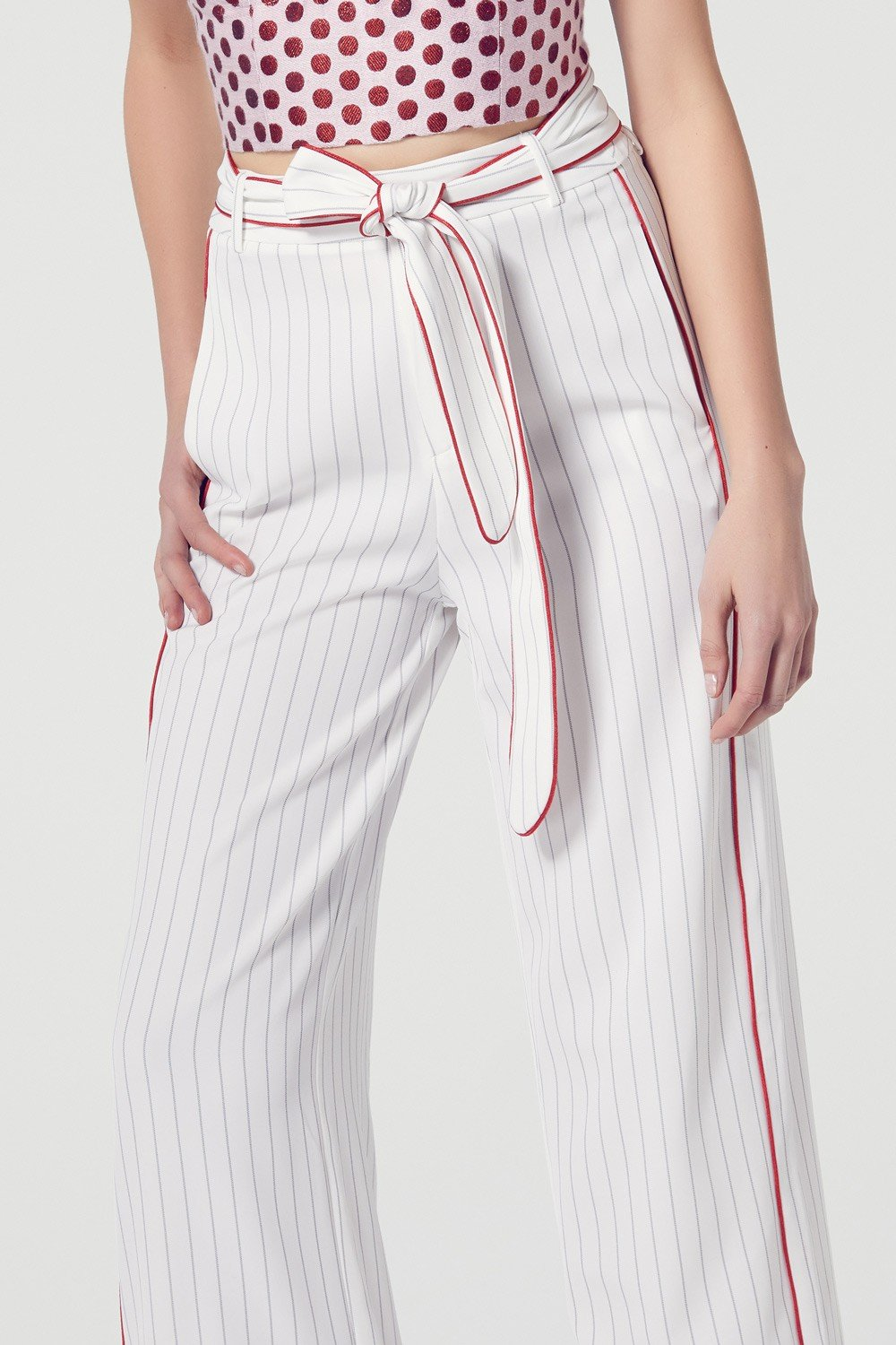 ATOIR The Caretaker Wide Leg Pinstripe Pants in White-Lookbook Boutique