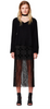 Bec & Bridge Wild West Tassle Pencil Midi Skirt in Black Velvet