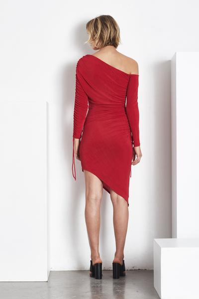 Blessed Are The Meek Broadway Ruched Bodycon Midi Dress in Red-Lookbook Boutique