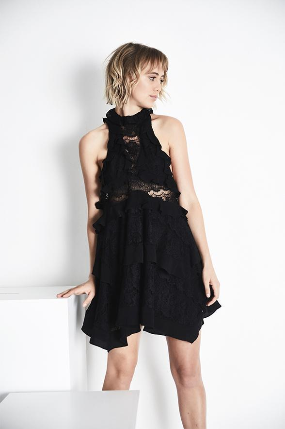 Blessed Are The Meek Brooklyn Halter Neck Teired Lace Mini Shift Dress in Black-Lookbook Boutique