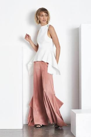 Blessed Are The Meek Trinity Wide Leg Pants in Rose Gold-Lookbook Boutique