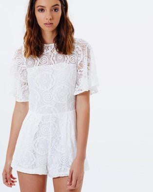 CASPER & PEARL Katya Short Sleeve Lace Playsuit in White-Lookbook Boutique