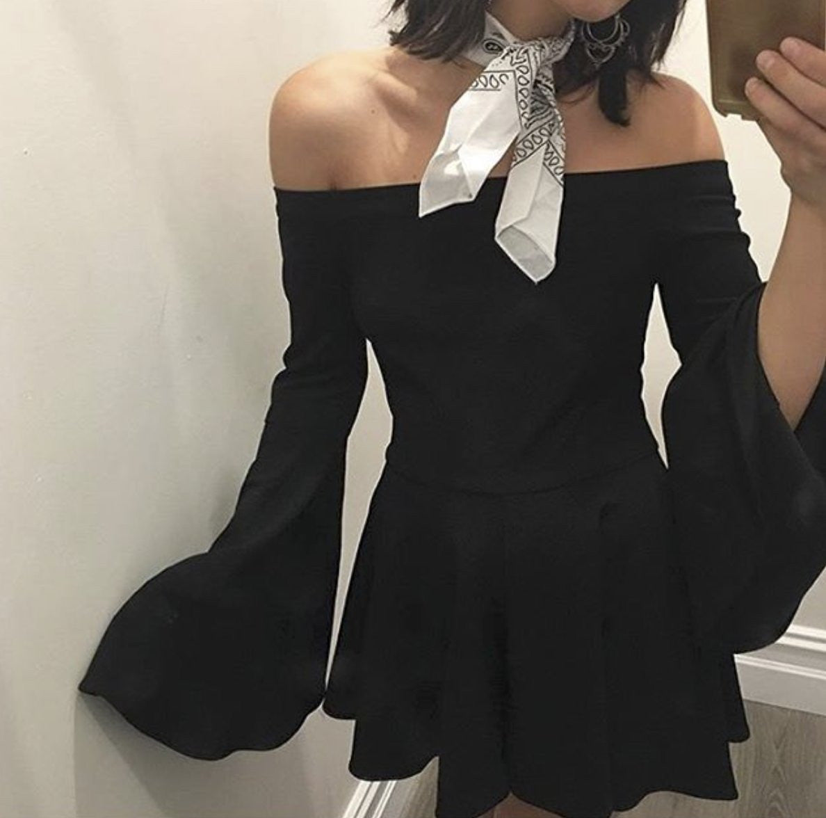 CASPER & PEARL Ruben Off The Shoulder Romper in Black-Lookbook Boutique