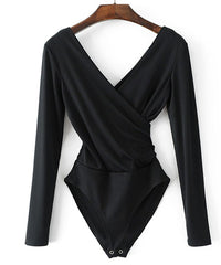 Cross Over V Neck Knitted Stretch Bodysuit in Black