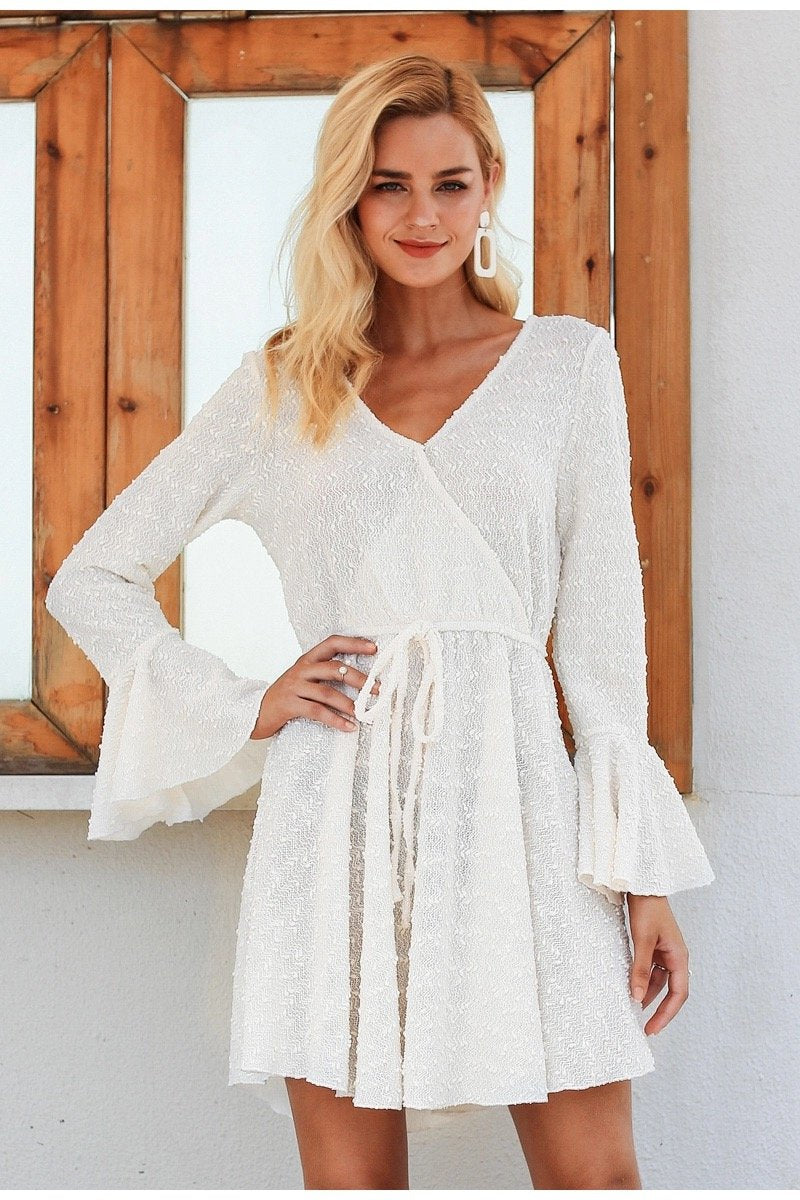 Deep V Neck Flare Sleeve Knitted Mini Dress in Ivory - Lookbook Boutique