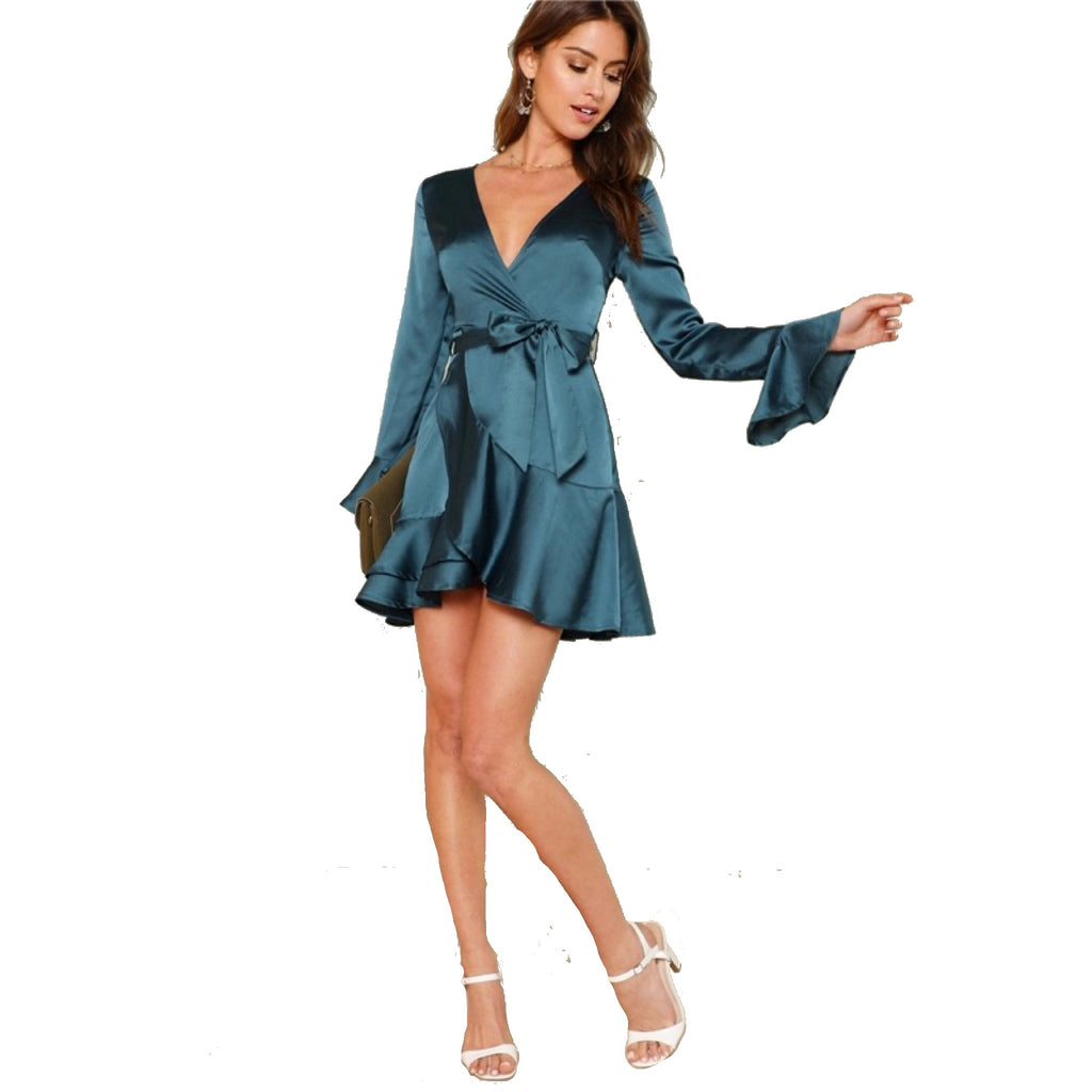 Deep V Neck Flare Sleeve Ruffle Mini Dress in Emerald-Lookbook Boutique