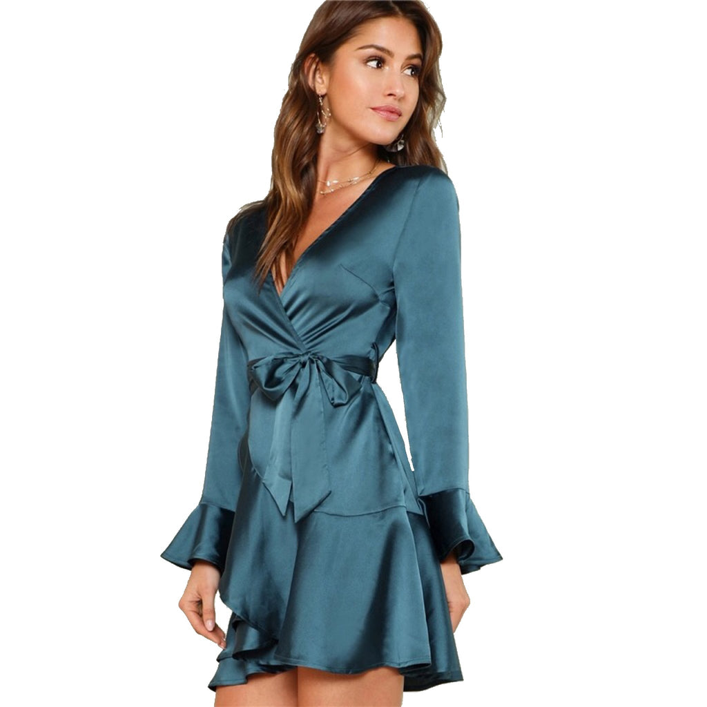 Deep V Neck Flare Sleeve Ruffle Mini Dress in Emerald - Lookbook Boutique