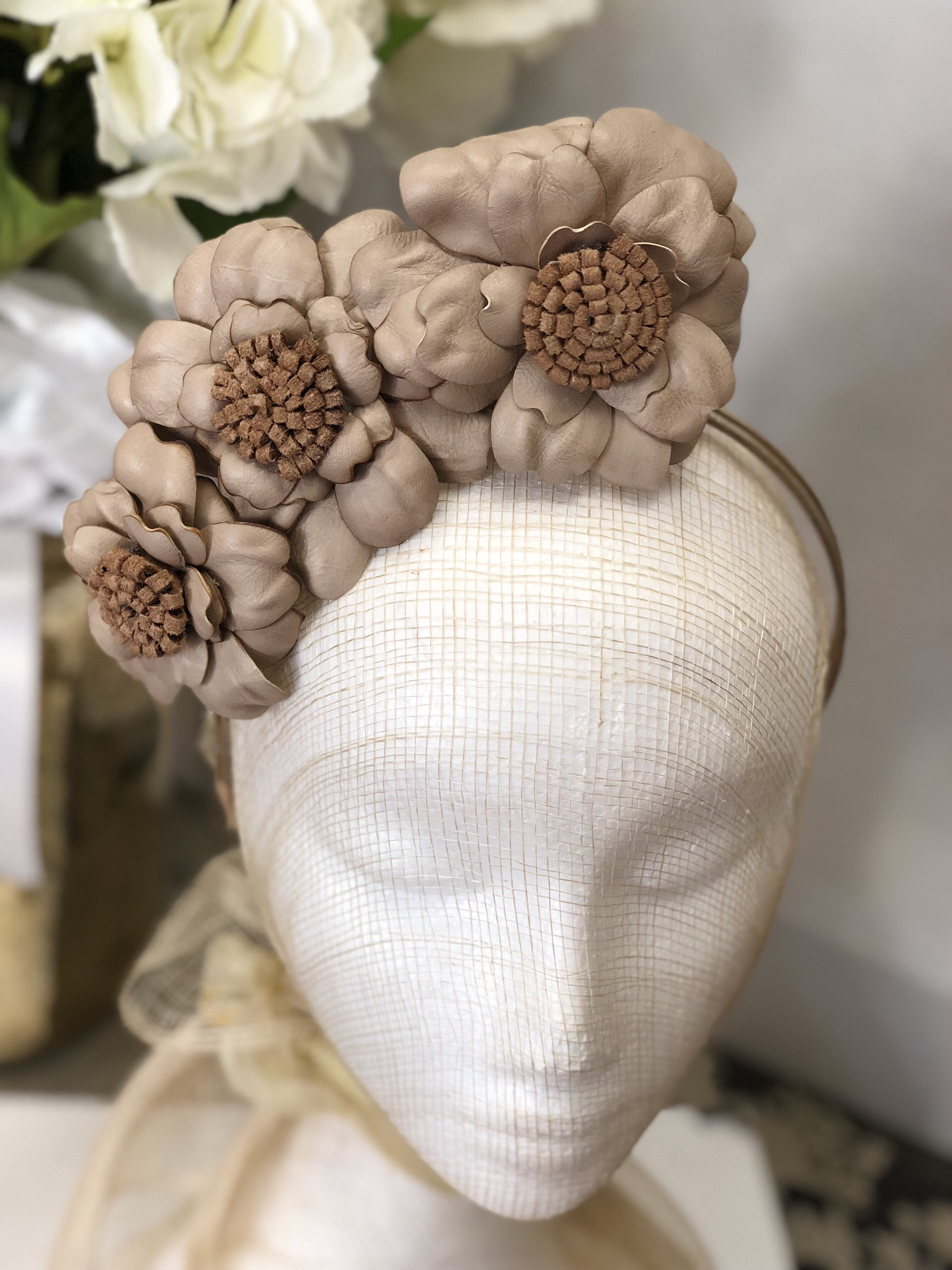 Fleur Cuir Barely There Leather Wild Roses Headband in Nude & Latte-Lookbook Boutique