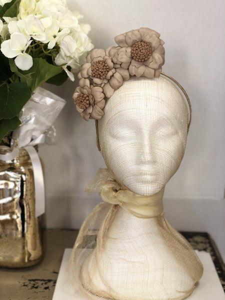Fleur Cuir Barely There Leather Wild Roses Headband in Nude & Latte - Lookbook Boutique