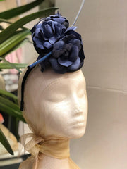 Fleur Cuir Blue Suede Roses Fascinator Headband in Navy - Lookbook Boutique