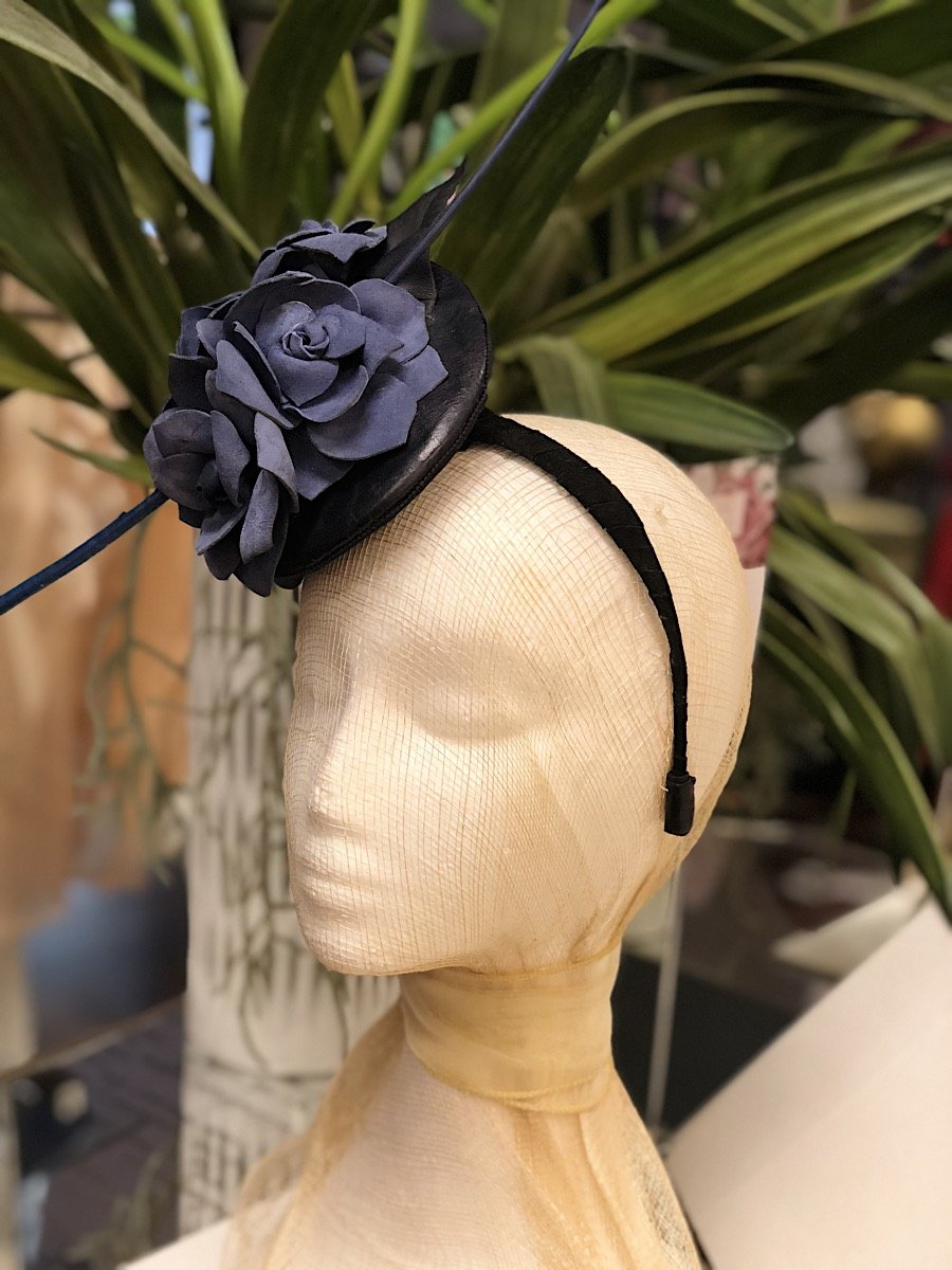 Fleur Cuir Blue Suede Roses Fascinator Headband in Navy-Lookbook Boutique