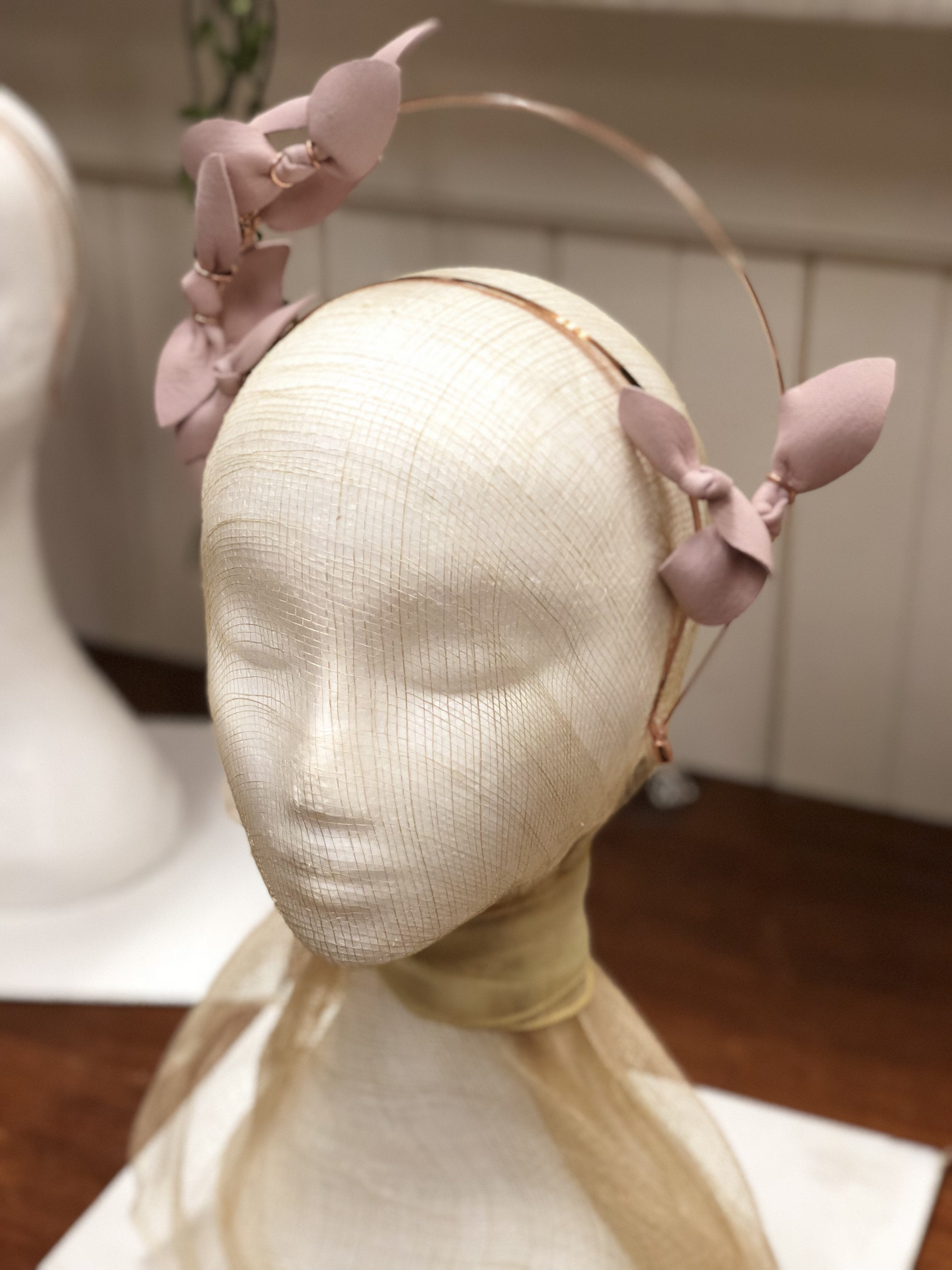 Fleur Cuir Delicate Bows Halo Headband in Pale Pink Leather & Rose Gold - Lookbook Boutique
