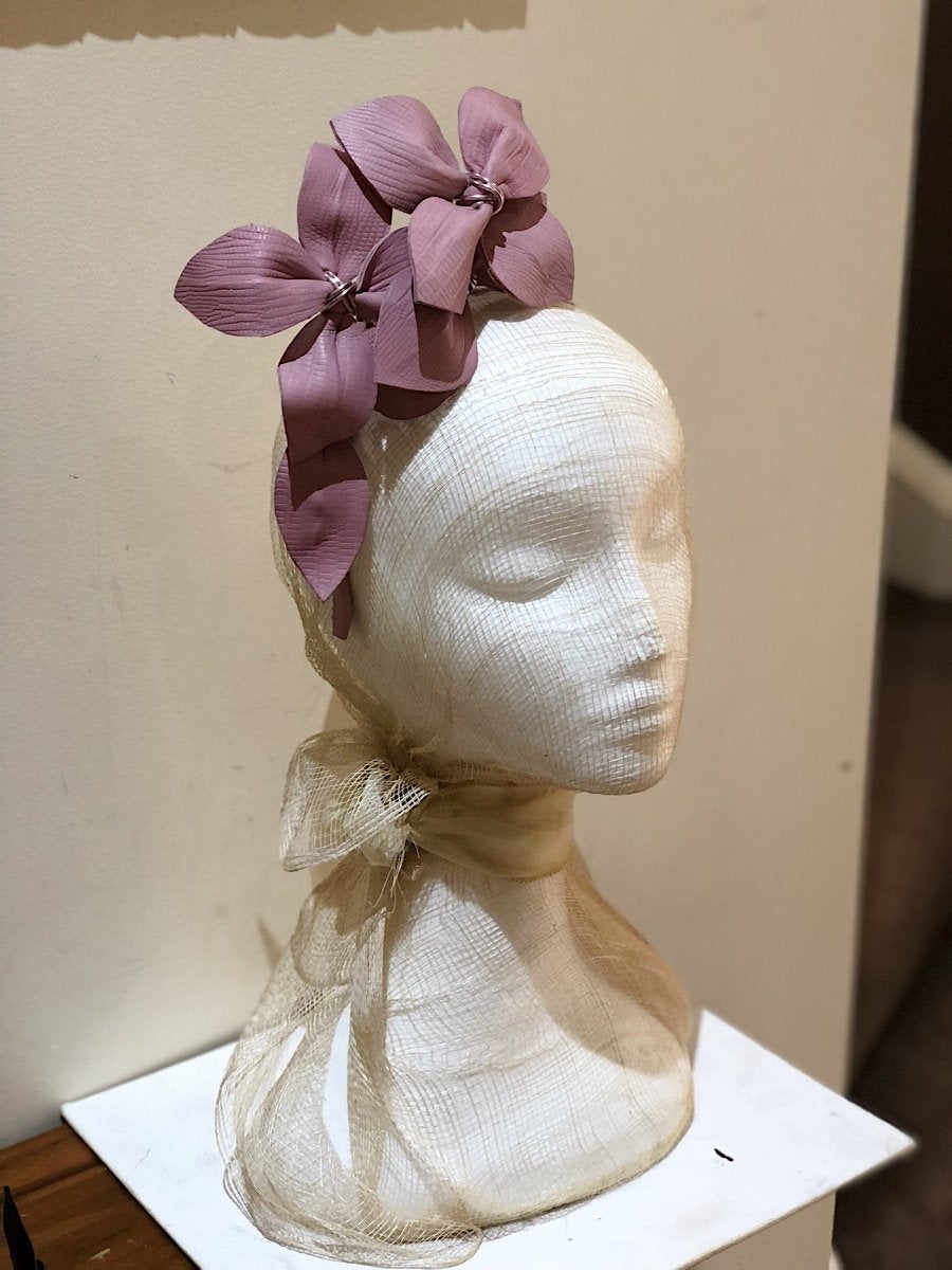 Fleur Cuir Embossed Leather Star Flower Headband in Pink-Lookbook Boutique