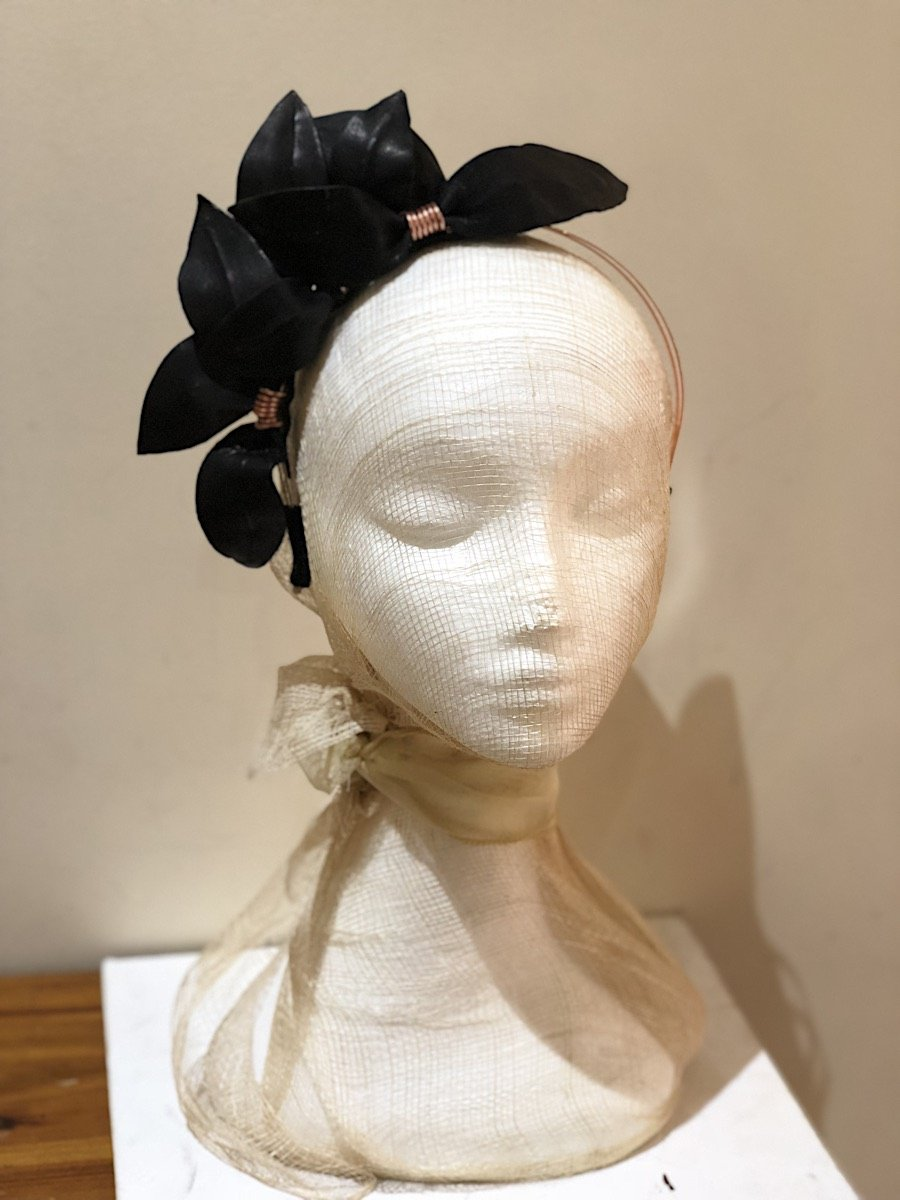 Fleur Cuir Falling Leaves Leather Headband in Black w/ Rose Gold - Lookbook Boutique