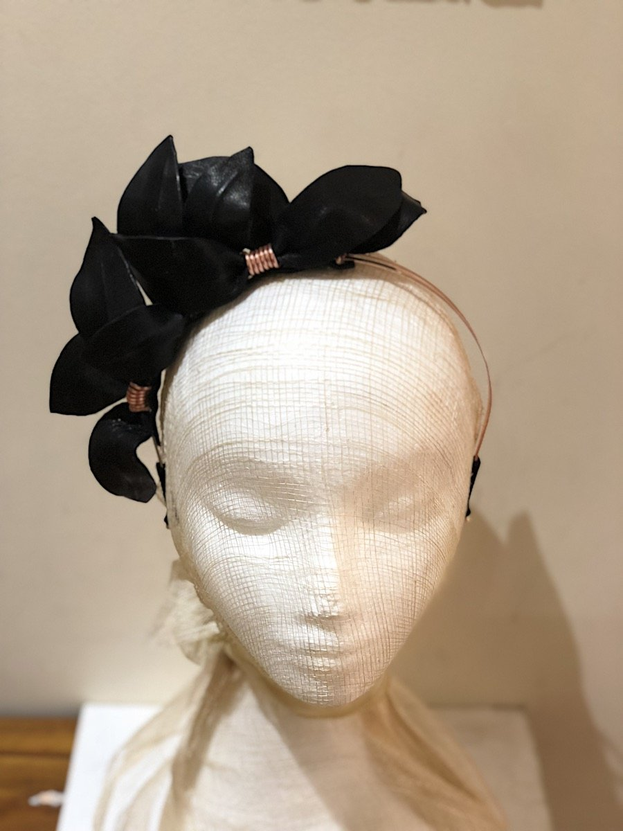 Fleur Cuir Falling Leaves Leather Headband in Black w/ Rose Gold-Lookbook Boutique