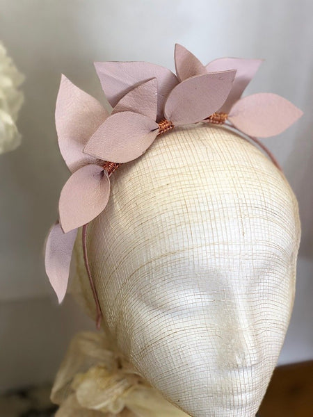Fleur Cuir Falling Leaves Leather Headband in Lilac Pink & Rose Gold - Lookbook Boutique