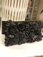 Fleur Cuir Flower Garden Clutch/Pouch Black Leather - Lookbook Boutique